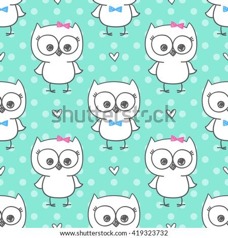 cute little owls, vector baby seamless pattern - stock vector