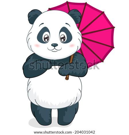Cute little panda with pink bamboo umbrella. Vector illustration. Cartoon. - stock vector