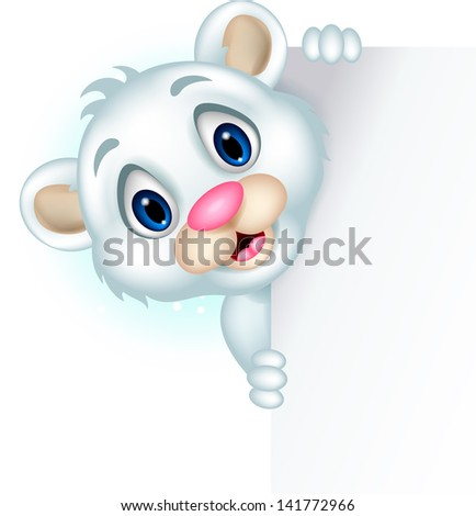 cute little polar bear posing with blank sign
