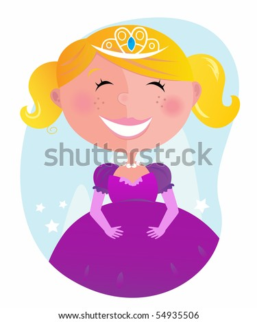 Cute little princess in pink dress with tiara . Vector cartoon illustration of small pink princess. - stock vector