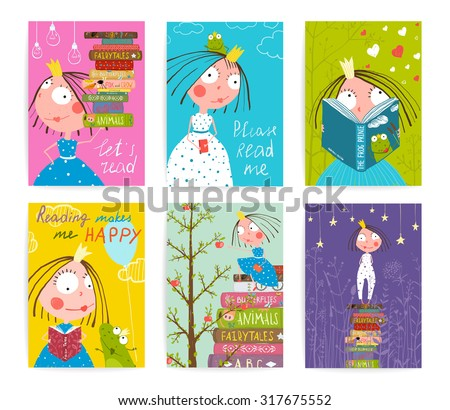 Cute Little Princess Kids Reading Fairy Tale Books Library Poster Collection. Colorful cute girl cards big bundle with a sign for a little child about reading literature. Vector illustration. - stock vector