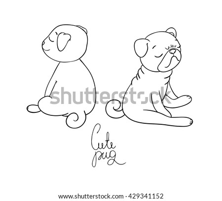 Cute little pug dog. A pet.  Isolated objects on white background.Vector illustration - stock vector
