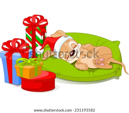 Cute little puppy with Santa Hat is sleeping near Christmas gifts. - stock vector