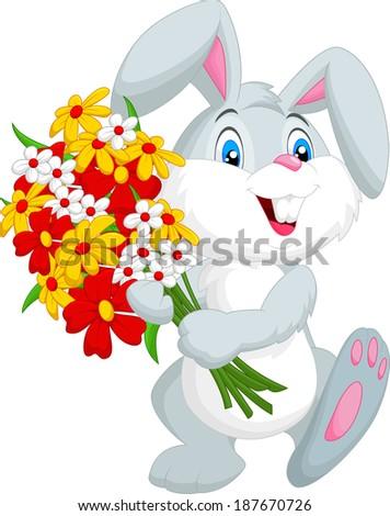 Cute little rabbit holding a bouquet - stock vector