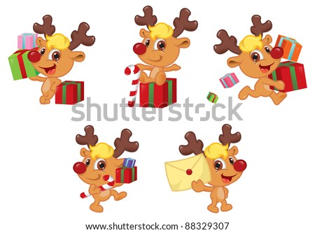 Cute Little Reindeer Christmas Mascot Set - stock vector
