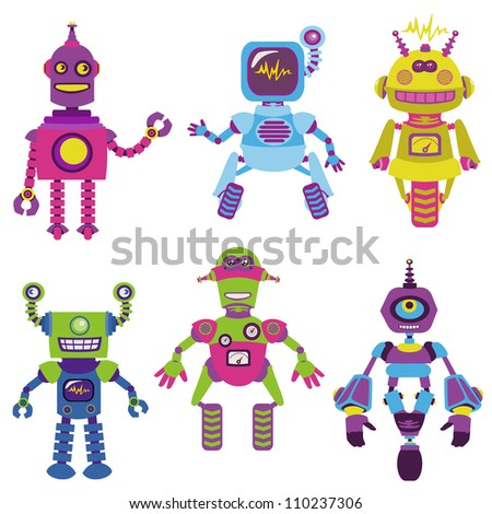 Cute little Robots Collection - for your design or scrapbook - in vector - stock vector