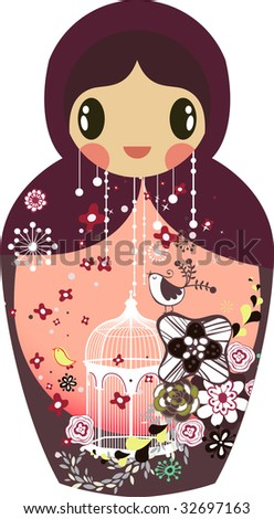 cute little Russian doll - stock vector