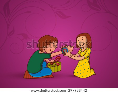 Cute little sister tying rakhi to her brother's wrist on floral design decorated background for Indian festival, Raksha Bandhan celebration.