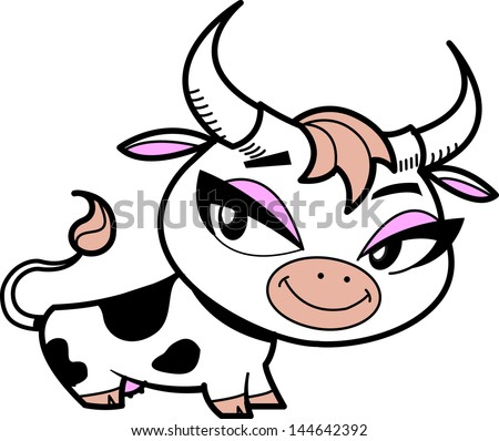 Cute Little Smiling Cartoon Cow With Pretty Eyes