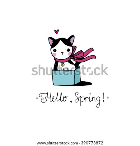 """Cute little spotted cat in the box. """"Hello, Spring"""" text. Hand drawing isolated objects on white background. Vector illustration. - stock vector"""