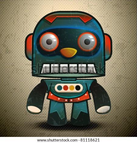 Cute little vector classic robot, Retro Robot - stock vector