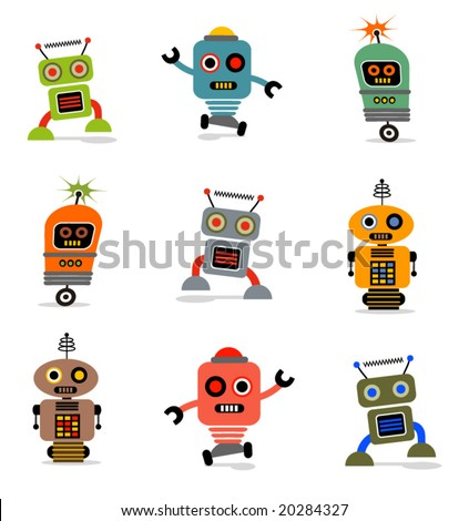 Cute little vector robots - stock vector