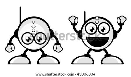 Cute little vector robots - stock vector