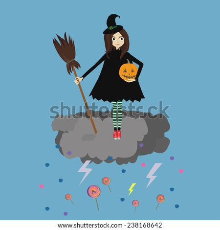Cute little witch on the clouds. Vector image.
