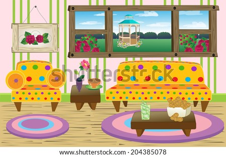 Cute Living Room Scenehappy Living Roomcolorful Stock Vector ...