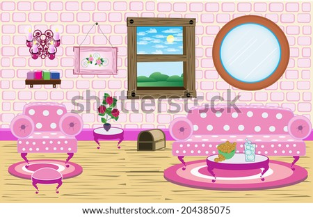 Cute Living Room Scene Pink Living Room Cute Stock Photo (Photo ...