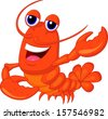 Cute lobster cartoon waving - stock vector