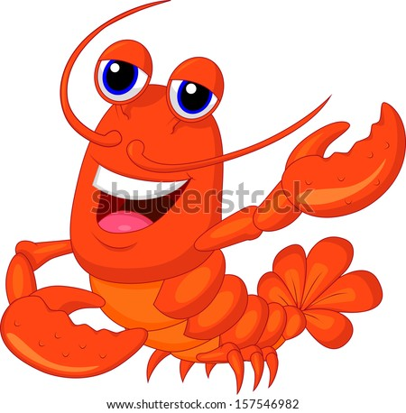 Cute lobster cartoon w...