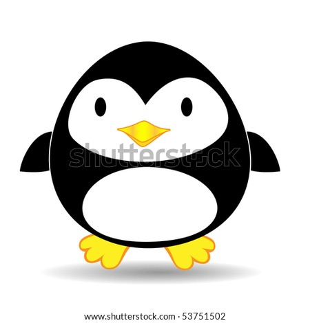 Cute looking penguin standing alone