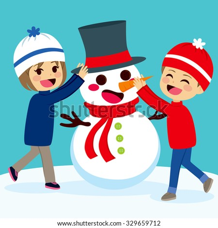 Cute lovely children siblings making snowman at Christmas