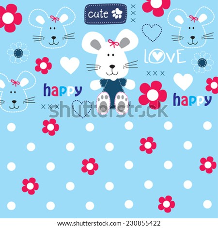 cute lovely mouse pattern for kids vector illustration - stock vector