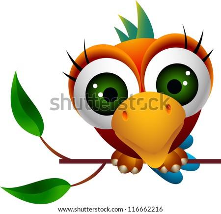 cute macaw bird cartoon - stock vector