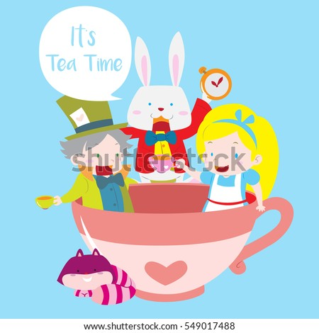 Cute Mad Hatter Tea Party With Alice White Rabbit And Cheshire Cat In Isolated Blue