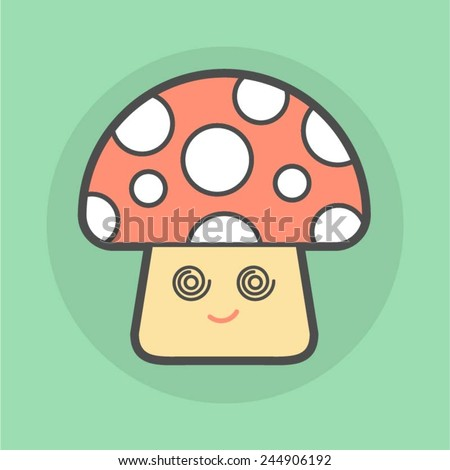 cute magic mushroom with spiral eyes, vector illustration - stock vector
