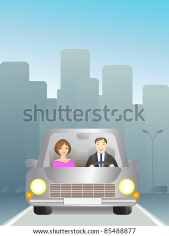 Cute man and woman in car on the road - stock vector