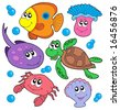 Cute marine animals collection - vector illustration. - stock vector