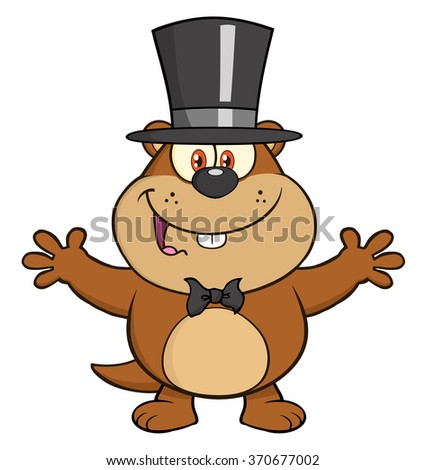 Cute Marmot Cartoon Character With Open Arms In Groundhog Day. Vector Illustration Isolated On White - stock vector