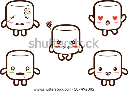 Cute marshmallow character with different expressions 2- Hurt, In love, Furious, Zombie, Cheery.EPS 10 - stock vector