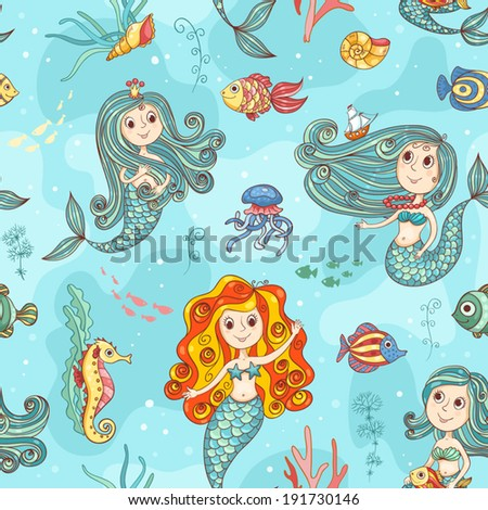 Cute mermaids seamless pattern. Vector color background. - stock vector