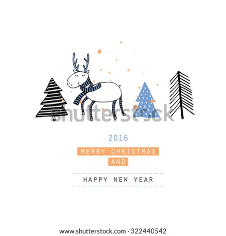 Cute Merry christmas card with deers Christmas Tree. Lovely cartoon background with holiday symbols. Blue color background. - stock vector