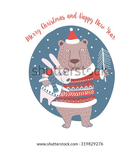 Cute Merry Christmas Happy New Year card with animals. Lovely cartoon background with holiday symbols. Blue color background. - stock vector