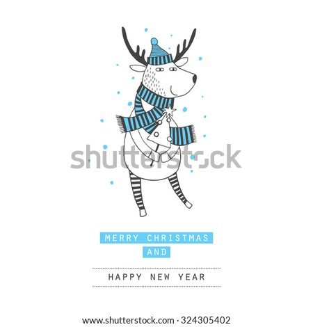Cute Merry Christmas Happy New Year card with deer. Lovely cartoon background with holiday symbols. Blue color background.Winter Time - stock vector