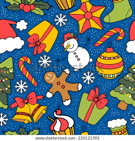 Cute Merry Christmas seamless background with holiday symbols