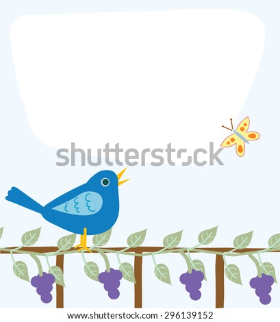 Cute message board with an area for text, bluebird, fence, grapevine, and butterfly/Message Board with Bird - stock vector