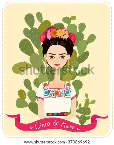 Cute Mexican girl in an ancient dress. Cactus in the background. Text Fifth of May. Vector illustration.  - stock vector