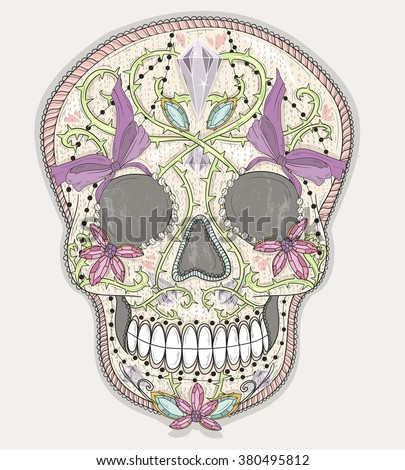 Cute mexican skull. Colorful skull with flower, gem, hearts and jewel ornamens. Sugar skull. - stock vector