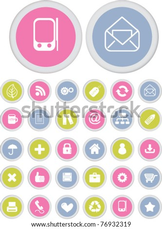 cute mobile & web interface office buttons, icons, signs, vector illustrations - stock vector