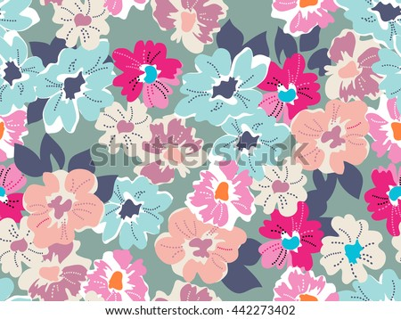 Cute modern floral print ~ seamless background