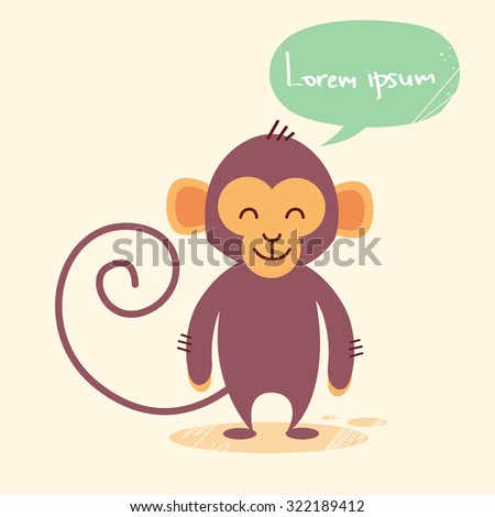 Cute Monkey Cartoon Chat Bubble Drawing Flat Vector Illustration - stock vector