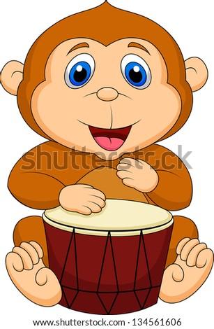 Cute monkey cartoon playing drum - stock vector