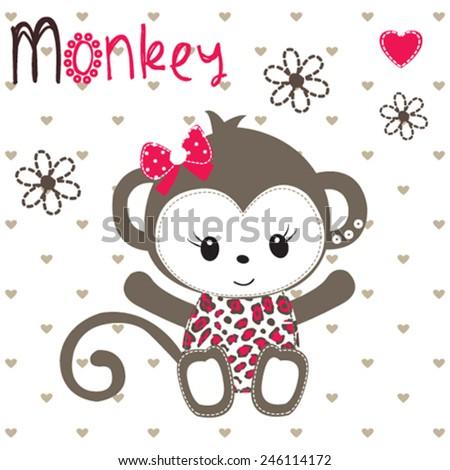 cute monkey girl on polka dot background vector illustration - stock vector