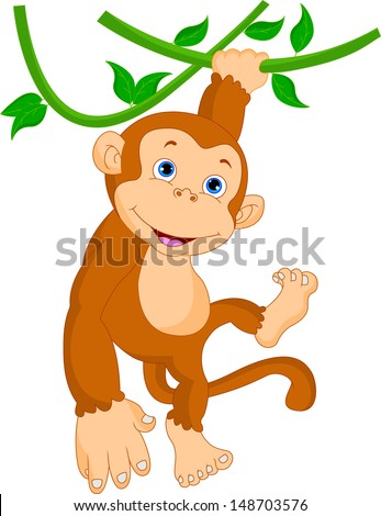 Cartoon Baby Monkey Hanging From Tree