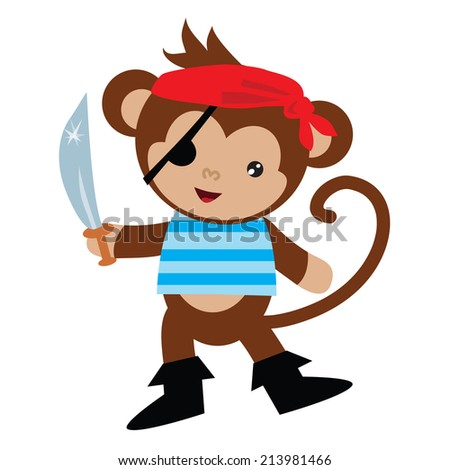 Cute monkey pirate vector illustration