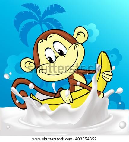 cute monkey ride banana in milk splash - funny vector illustration - stock vector