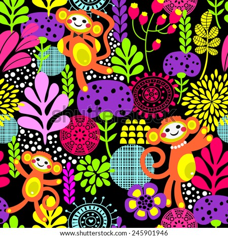 Cute monkey seamless texture with flowers. Vector colorful pattern for you fun and business. Monkey is the symbol of 2016. - stock vector