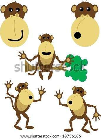 cute monkey vectors - stock vector